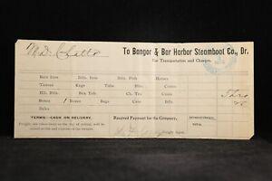 Bangor & Bar Harbor Steamship 1899 Shipping Invoice, Hawkins Purser