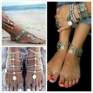 Women Boho Barefoot Sandal Anklet Coin Tassel Ankle Bracelet Foot Chain Antique