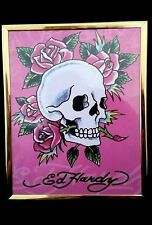 2009 Don Ed Hardy Skull and Roses Poster Print Art In Frame 10X8