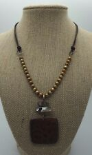SILPADA Brown Etched Pendant Iridescent Beaded Necklace