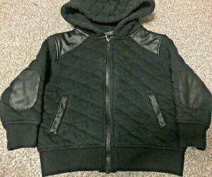 Next infant boys toddler black leather quilted warm hoodie jumper coat jacket
