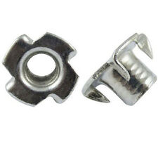 Qty 50 Tee Nuts 1/4-20 Nuts Threaded For Wood Insert Zinc Plated Steel