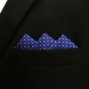 SHLAX&WING Matching Pocket Square 12.6 inches Large Dots Navy Tie Blue Dotty