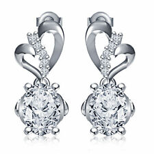 Exclusive!! Women's Special Alloy White Platinum Over RD White CZ Heart Earrings