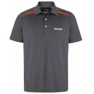 Kubota Branded Mens Grey and Orange Cotton/spandex Zone Polo