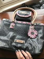 Ladies Guess Black Handbag With Floral Detail Good Cond See Pictures