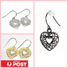 Vintage Women Victorian Lace Heart Hook Dangle Drop Earrings Fashion Jewellery