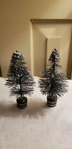 "2 VINTAGE WOOD & BOTTLE BRUSH SILVERED MINIATURE CHRISTMAS TREES 4.25"" NATIVITY"