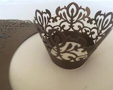 24 x braun CUPCAKE WRAPPER Verpackung Deko Muffin Hüllen Hochzeit Party W3