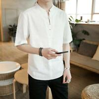 Men's Retro Chinese Style Short Sleeve Cotton Linen T-shirt Loose Comfy Tops