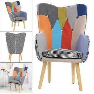 Modern Multicoloured Patchwork Fabric Chair Armchair Wooden Legs Buttoned Back