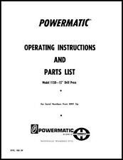 Powermatic Model 1150 15 Inch Drill Press Early Manual