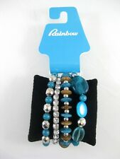 New 4 Piece Bracelet Set with Turquiose Colored Beads & Rhinestones #B1390