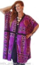 violet kimono jacket OS M L XL 1X 2X 3X 4X black trim button batik plus ZF139