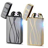 USB Electric Rechargeable Dual Arc Flameless Windproof Plasma Lighter Metal