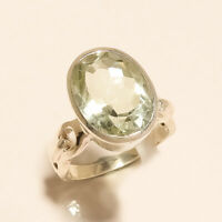 Natural Panorama Green Amethyst Solitaire Ring 925 Sterling Silver Fine Jewelry
