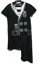 Camella Karlito CC PRINTED BLACK ASSYMETRICAL PLEATED HEM SHIRT DRESS