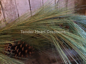 Artificial Fine Mixed Woodsy Long Needle Pine Garland 5' ft Foot With Pinecones