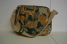 """Zoo Animal Tote Zipped sling bag 15"""" x 12"""" extra pocket inside + two outside NEW"""