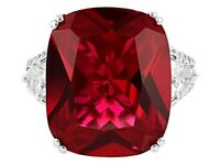Sparkling Red Cushion 21.65CT Ruby With Heart & Round Cut CZ Three Stone Ring