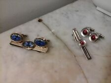 Vintage Tie Clip Clasp & Cuff Links Choose Red or Blue