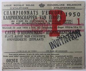 1950 European Championship Athletics - Brussells Heysel Stadium Ticket