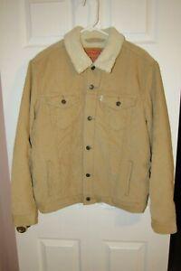 Levi's Sherpa Corduroy Jacket Button Up Trucker Large Beige Tan Lined