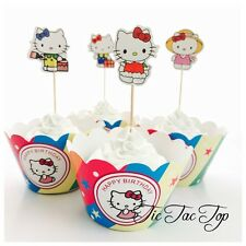 12 Hello Kitty Cupcake Toppers + 12 Wrappers. Party Supplies Lolly Loot Bag