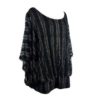 Size 1X Style & Co Black Silver Sheer Lace Overla Top Blouse Shirt Women's Plus