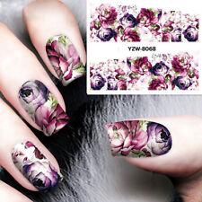 Nail Art Water Decals Stickers Transfers Deep Purple Flowers Gel Polish Beauty u