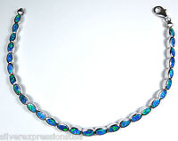 Blue Fire Opal Inlay Solid 925 Sterling Silver Link Tennis Bracelet 7-1/4'' Long