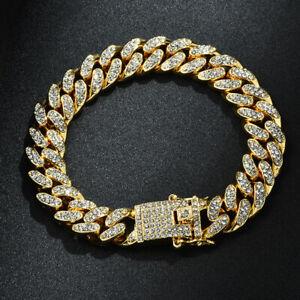 New Women Men Luxury 12mm Cuban Link Chain Gold Silver Bling Bracelet Jewelry
