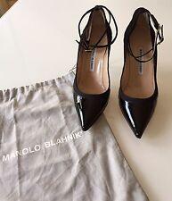 Manolo Blahnik Black Double Ankle Strap Heels Size: 39