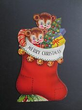 Unused Die Cut Stand Up Xmas Greeting Card Sweet Stuffed Bear in Stocking