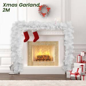 Christmas Garland Decor Bar Snowflake Tree Ornaments Fluffy Boa white Cane