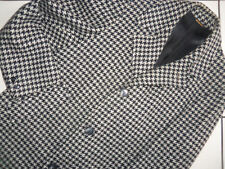 HANDSOME Classic Vtg Gray/Black Houndstooth Coat 100% Virgin WOOL 42 ?