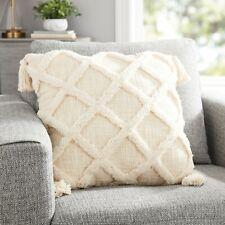 New 20''x20'&# 039; Boho Decor Style Tufted Trellis Decorative Square Throw Pillow Nat