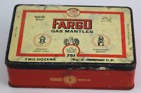Old Vintage collectible advertisement Tin box of Fargo Gas Mantles. i2-185 US