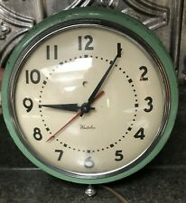 Vintage Green Westclox Kitchen Wall Clock Electric 1950's Works