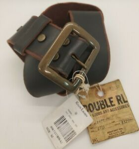 RRL RALPH LAUREN DOUBLE RL Distressed Leather Brass Buckle Belt Size32 Italy NWT