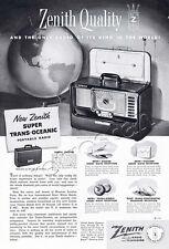 Authentic 1952 ZENITH Super Trans-Oceanic Radio  Full Page Retro Magazine Advert