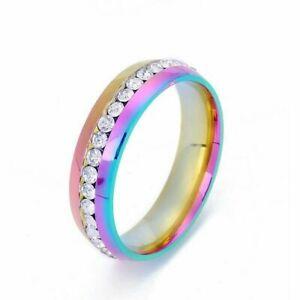 Wedding CZ Ring Engagement Men/Women Couple Band Titanium Stainless Steel Sz5-13