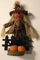 "Standing 9"" Straw Scarecrow Figure Jack O Lantern Vintage Halloween Taiwan Base"
