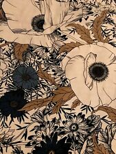 Richloom Large Blooms Fabric Shower Curtain Flower Floral Grey Blue Brown  72x72
