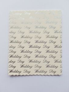 """5 die cut hot foiled  """"Wedding Day"""" card topper embellishments"""