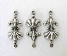 Antiqued Silver Ox Fleur De Lis Flower Connector Plated Finding 23mm