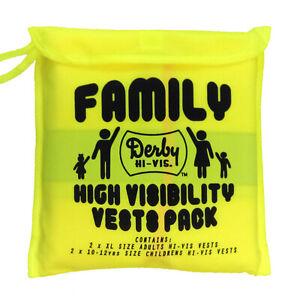 Hi Vis Family Pack 4 Vests Yellow High Viz Visibility Waistcoat Safety Jacket