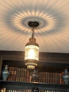 Old Vintage Moroccan Pierced Bronze Hanging Chandelier Lantern Light Lamp Arabic
