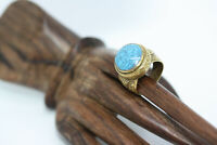 Antique 10.5 CT Roman Veined Blue Turquoise Bronze Men's Women's Ring Sz 7.5