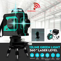 3D 12 Line Green Laser Level Auto Self Leveling 360° Rotary Cross Measuring Tool
